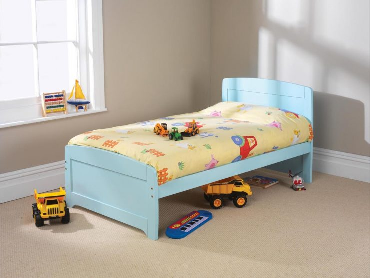 pine bed manufacturer raised foot end blue finish