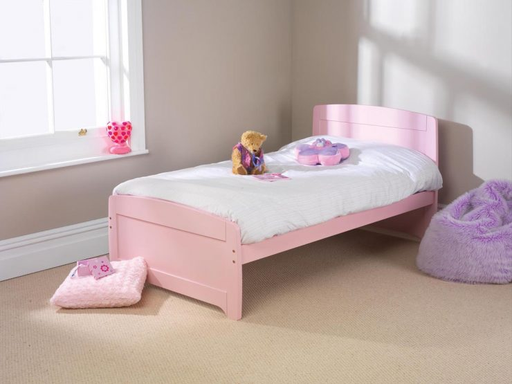 pine bed manufacturer raised foot end pink finish