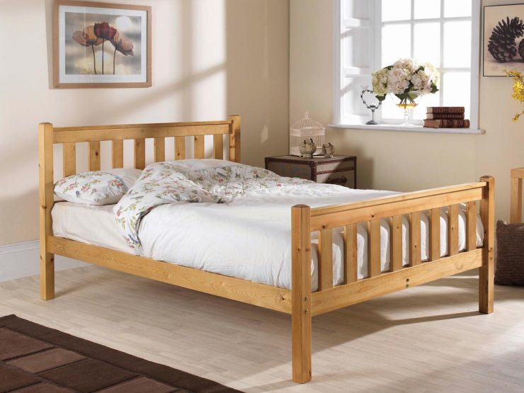 Pine bed manufacturer shaker high foot end